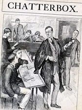 Vintage Book Page Plate Print, Student & Teacher In Class Room, Porter, Master,