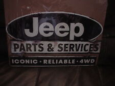 LARGE Awesome Embossed JEEP PARTS & SERVICE ICONIC * RELIABLE * 4WD 3 TIER SIGN