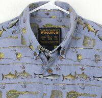 WOOLRICH Mens Shirt Size L Short Sleeve Button Front Fishing Graphics Blue