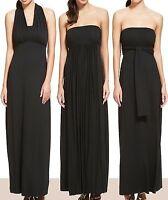 New-Black Maxi Tie & Wrap Multiway Party Dress-Halter Neck-Bandeau-M&S-Size 8