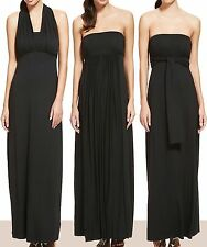 New-Black Maxi Tie & Wrap Multiway Party Dress-Halter Neck-Bandeau-M&S-Size 8