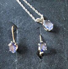 QVC #J79695 Sterling Silver Oval Blue Iolite Pendant & Earrings Set *New In Box*