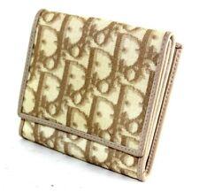 Authentic Christian Dior Trotter Pattern Bi-fold Wallet Beige Spain CM0066