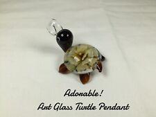 Art Glass Turtle Pendant  ~ No Chain