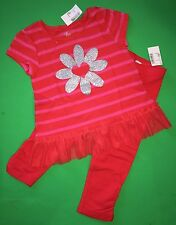 NEW! 'Flower Heart' Baby Girls 2 Pc Lot Shirt Leggings Pants 2T Gift Outfit Set