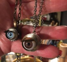 Vintage Eyeball Necklace Blinking Doll Eye Hand Made Creepy Cool!