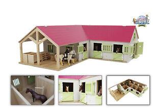 Kids Globe Pferdehof / Reiterhof 1:24, pink, Bauernhof Holz, Maße 68x77x27 cm