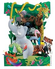 Deluxe Girls & Boys Birthday Card Jungle Animals 3D Swing Pop Up Greeting Card