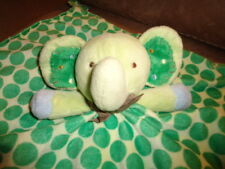 Blanket Elephant Green Dots Blue Satin Plush Carters Baby Security Lovey Rattle