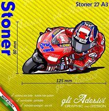 Adhésif Motorrad Casey Stoner 27 Ducati caricature stickers carénage casque 12 x