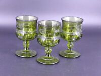 "Set of 3 Indiana Glass Kings Crown Thumbprint Green 4 1/4"" Cordials Wine Vintage"