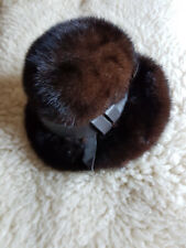 ae1407d5a28 Ladies Vtg Mitzi Lorenz Of London Brown Mink Hat With Leather Detail S M VGC