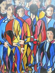 OIL ON CANVAS THE MADDING CROWD LISTED ARTIST LORNA DUNN  FREE SHIPPING ENGLAND