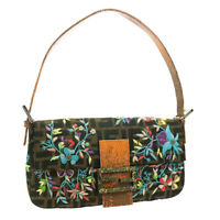 FENDI Embroidered Baguette Flower Hand Bag Brown Black Cotton 36610