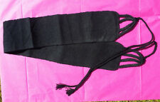 """Maya Mexican Belt Embroidered Cotton Black Chiapas 30"""" and 60"""" with ties #P"""