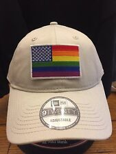 New Era NE201 Stone Unstructured Cap Dad Hat w/ Rainbow American Flag Gay Pride