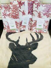 Pottery Barn Alpine Toile Duvet Cover King Red Euro Shams Christmas Deer Pillow
