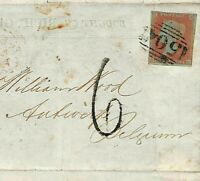 GB SG.12 Cover UNDERPAID DESTINATION MAIL *Mansfield* Notts 1852 BELGIUM MS1503