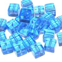 G692 Sky Blue 6mm Square Cube Crystal Glass Beads 24pc