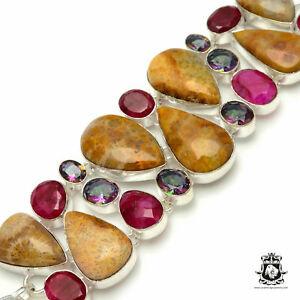 Fossilized Bali CORAL Kashmir RUBY Corundum MYSTIC Topaz Bracelet 3076