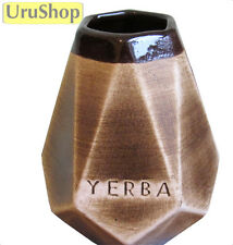 M131 LARGE CERAMIC MATE CUP FOR YERBA MATE PRISM SHAPE WITH ENGRAVING