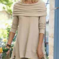 SOFT SURROUNDINGS Size L B'Call Tan Beige Tunic Top Sweater Knit Cowl Neck