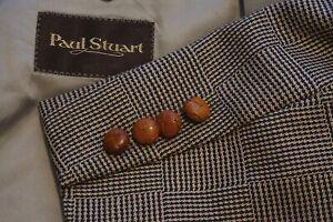 Paul Stuart Brown brown Plaid Tweed Wooden Button Sport Coat Jacket Sz 46L
