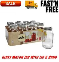 Kerr Clear Glass Mason Jar With Lid & Band, Regular Mouth, 32 Ounces, 12 Count