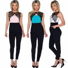 Ärmellose Damen-Overalls aus Jersey ohne Muster