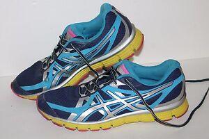 ASICS Gel Extreme 33 Running Shoes, #T2H9Q, Navy/Royal/Volt/Pink, Women's US 10