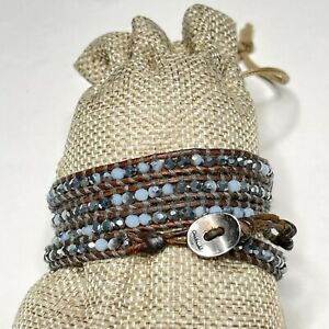 Chan Luu Leather Beaded Wrap Bracelet Sterling Clasp Brown Blue
