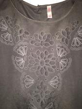 Xhilaration Women's Long Sleeve Top Large Blouse Cut Out Detail Gray Hi Lo