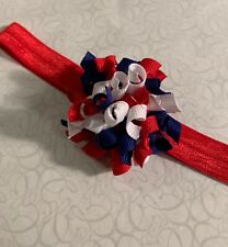 July 4th Red White Blue Dainty Korker Hair Bow Soft Headband fit Preemie Toddler