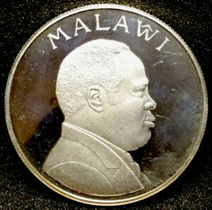 Large Uncirculated 1995 Malawi 5 Kwacha 0.925 Proof Silver Coin