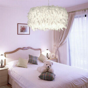 Romantic White Feather Ceiling Chandelier Lamp Shade Bedroom Hanging Light GA