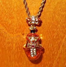 Russian FABERGE inspired ENAMEL bow Swarovsky Crystals & Orange GOLD EGG pendant
