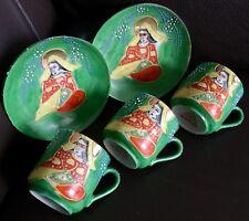 "Superb 5 Piece Post War Japanese ""Mikado"" Eggshell China Cups & Saucers"