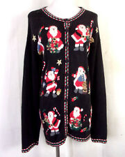 vtg Heirloom Collectibles Busy Ugly Christmas Sweater 12 Santas Party Winner 1X