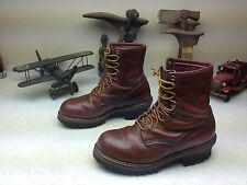 VINTAGE RED WING BROWN DISTRESSED LEATHER ENGINEER PACKER LOGGER TRAIL BOOTS  9D