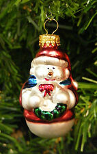 HAND BLOWN MERCURY STYLE GLASS MINI SNOWMAN HOLDING WREATH CHRISTMAS ORNAMENT