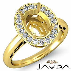 Diamond Engagement Pave Set Filigree Ring 18k Yellow Gold Oval Semi Mount 0.36Ct