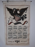 Vintage 1970 Patriotic We Stand United Eagle & Shield Decorative Linen Calendar