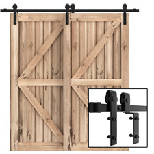 4FT-18FT Single Track Bypass Sliding Barn Door Hardware Kit Cabinet For 2 Doors