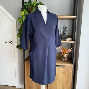 Whistles Size XS Navy Lola Shirt Tunic Dress VGC Pockets VGC