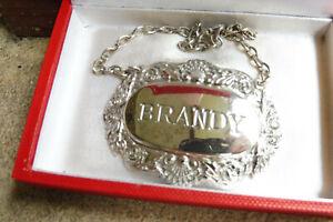 Vintage Silver Plate EPNS Decanter Label : Brandy
