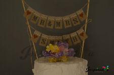 Mr&Mrs Surname  Wedding Cake Topper Mini Bunting Banner Topping Shabby  Vintage