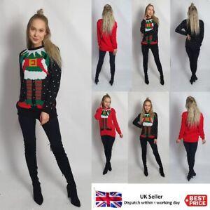 New Womens Unisex Christmas Jumper ELF JOKER Knitted Novelty Elf Body Sweater