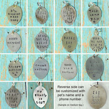 Customized Pet Tags Collar Charms / Hand-stamped on Vintage Spoons / Dog Cat