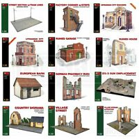 Miniart Buildings WW2 1/35 Scale Diorama Bases Ruined Village Houses Barn Street