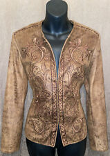 Womens Reba Western Embellished Embroidered Brown Jacket Size Small Cute